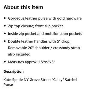 kate spade Bags - ♠️Kate Spade NY NWT Grove Street Caley Satchel Bag